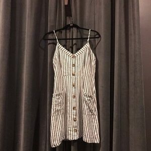 Green striped summer dress